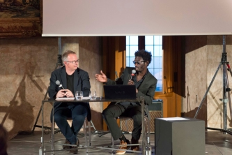 Moussa Sarr Conversation-performance between Pascal Neveux et Moussa Sarr, Villa Medicis, 2018